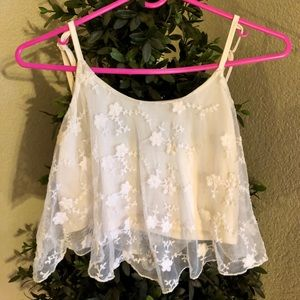 White Lace Flower 🌸 Crop Top
